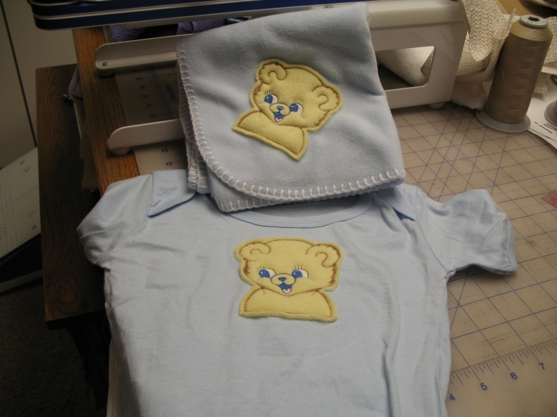 Teddy Bear Onsie and Burp Cloth