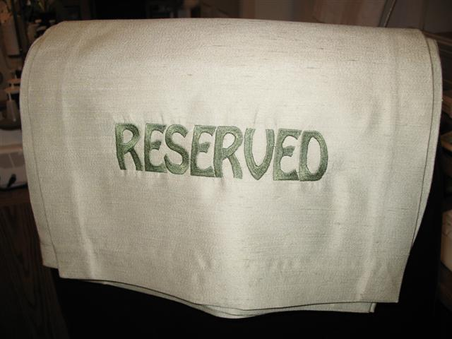 Reserved Chair Toppers